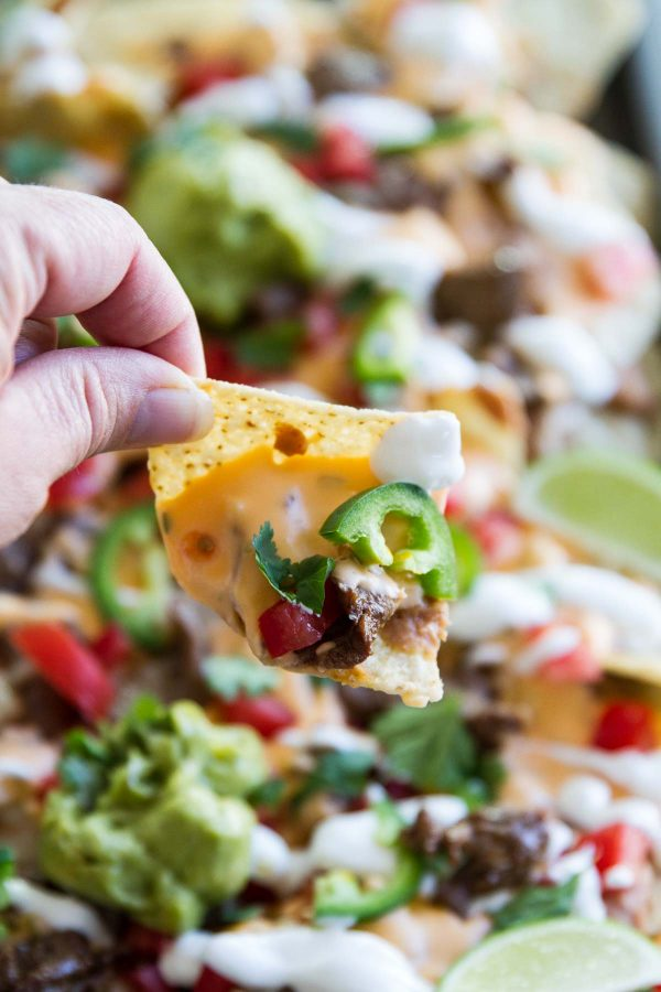 Tailgating recipe - Sheet Pan Steak Nachos Supreme