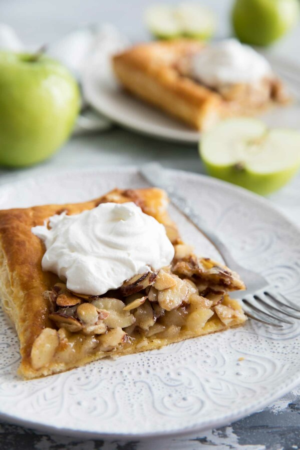 Slice of Apple Tart with Almond Tosca Topping