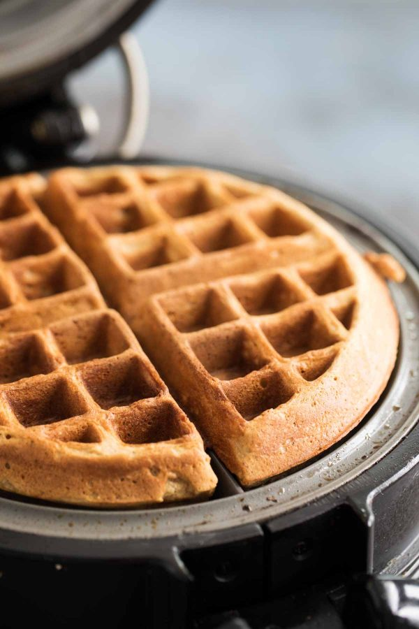 Gingerbread Waffles in a waffle maker