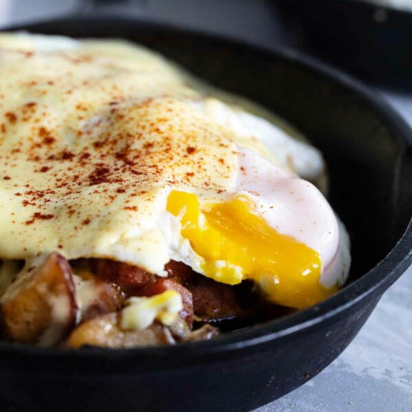 Sunny Side Egg on a Meat and Potatoes Breakfast Skillet
