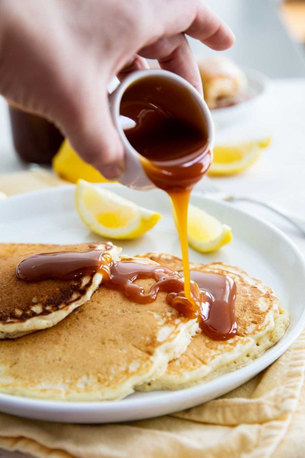 Lemon Pancakes with Homemade Buttermilk Syrup Recipe
