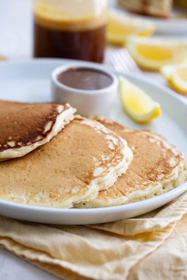 Lemon Pancakes on a plate