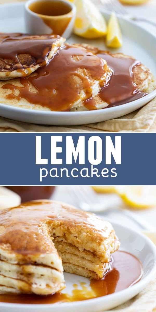 Lemon Pancakes with Homemade Buttermilk Syrup