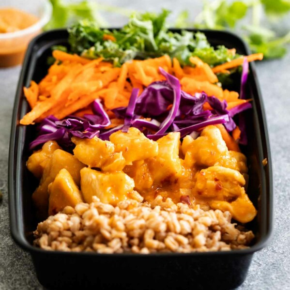 Buddha Bowl with Thai Chicken and Peanut Sauce