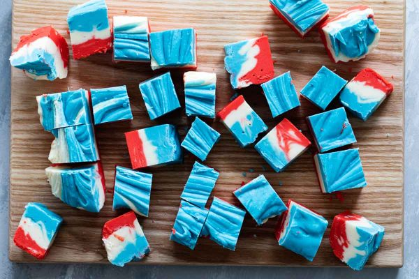 Top view of 4th of July White Chocolate Fudge