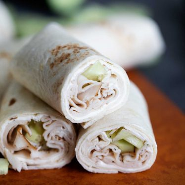 Cucumber Ranch Turkey Wrap cut in half