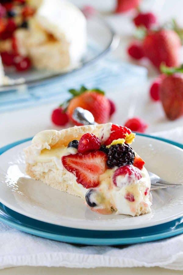 Slice of Pavlova with Fresh Berries