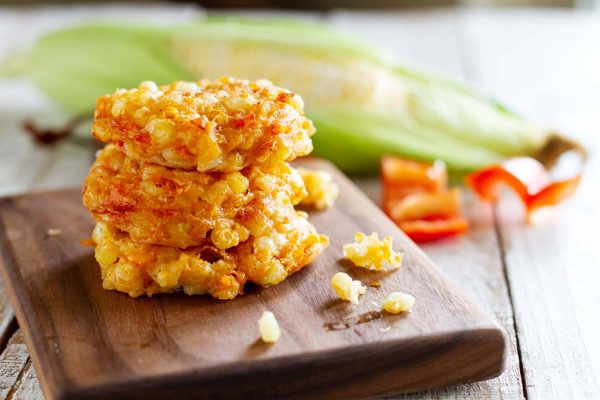 stack of Cheddar Corn Fritters