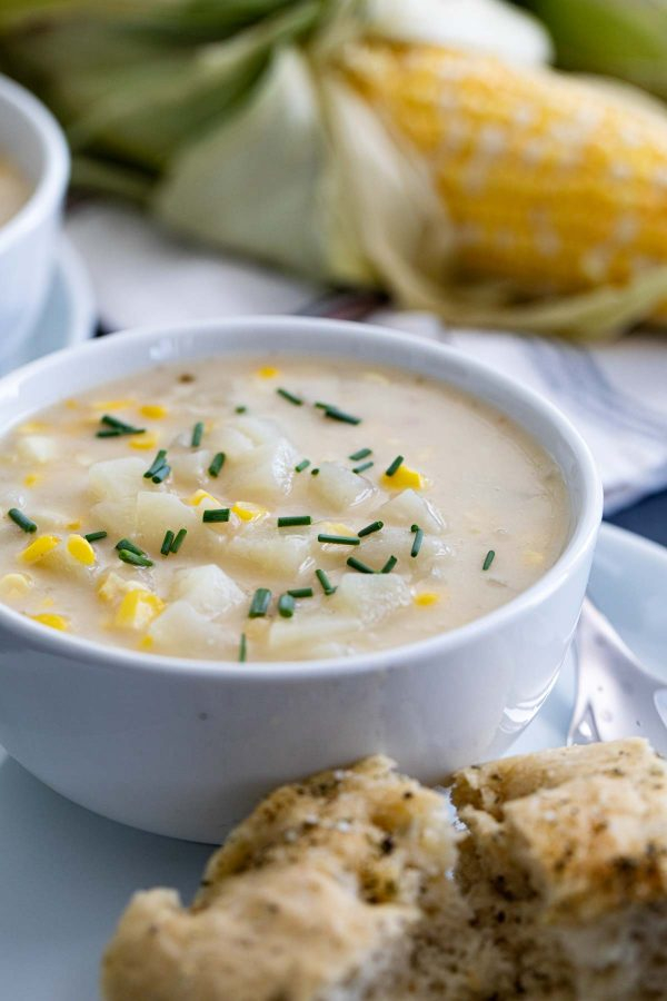 chowder topped with chives