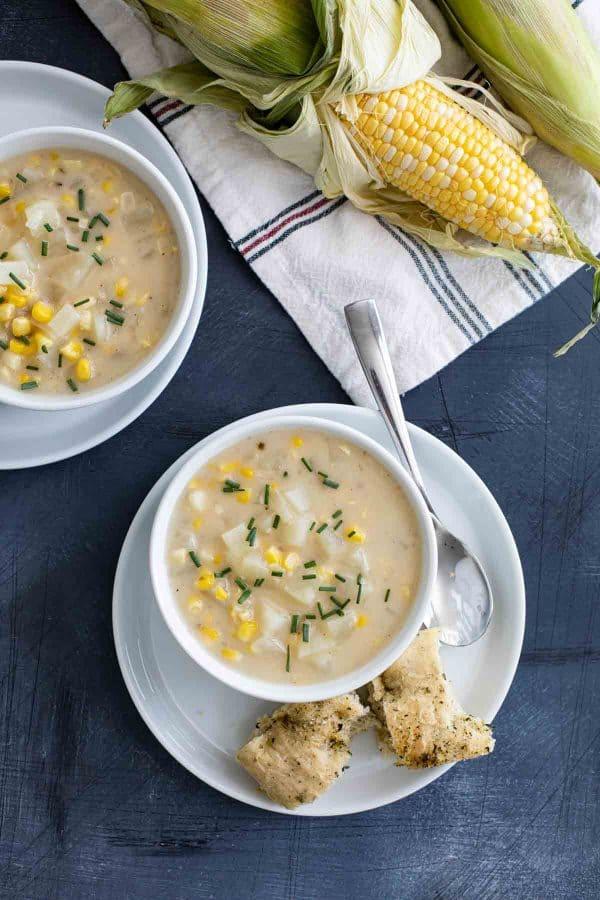 bowls of Potato Corn Chowder