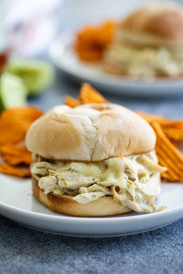Pulled Chicken Sandwiches with a Suizas style sauce