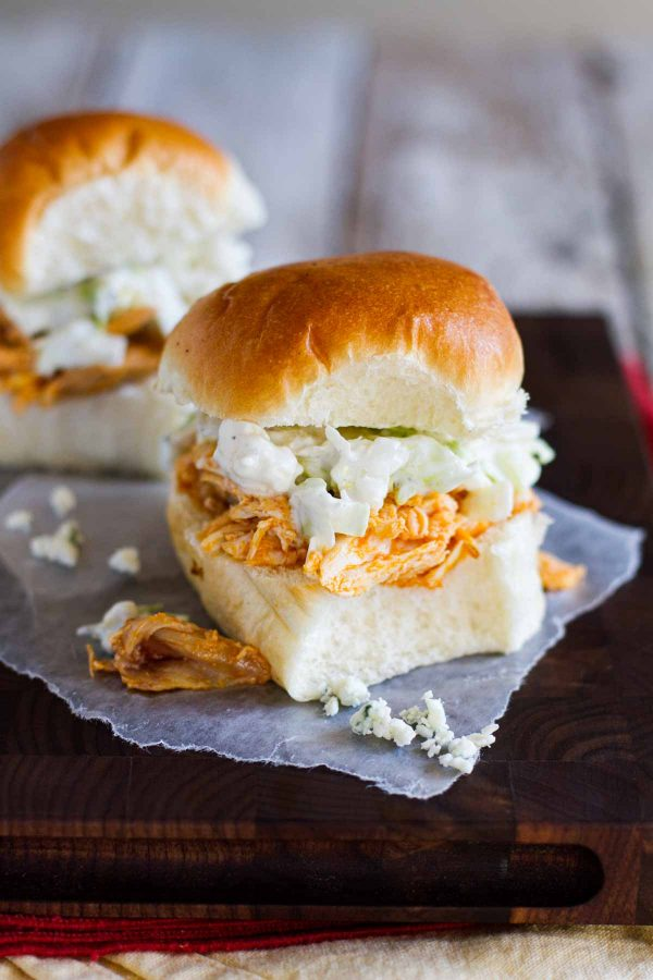 Slider Sized Sandwiches with Buffalo Chicken