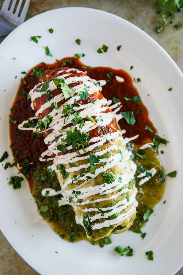 Chicken Burritos Smothered with Red and Green Sauce
