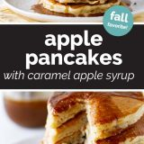 Apple Pancakes with Caramel Apple Syrup with text in the center