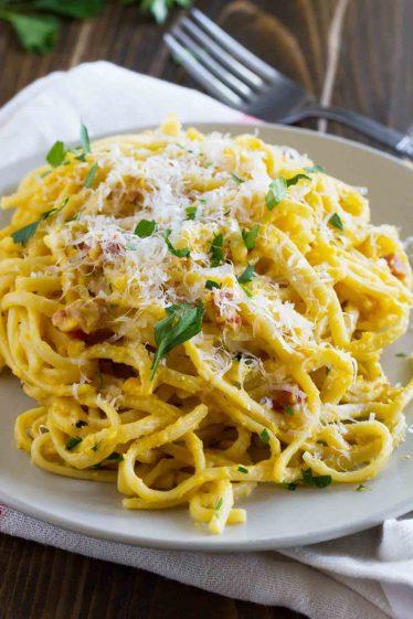 plate of creamy butternut squash pasta