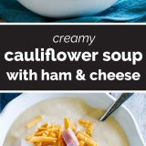 Cauliflower Soup with Ham and Cheese