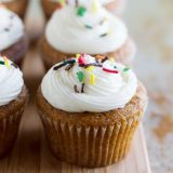 pumpkin cupcakes with sprinkles