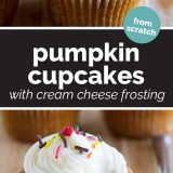 Pumpkin Cupcakes with Cream Cheese Frosting
