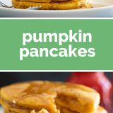 Pumpkin Pancakes Recipe with text in the center