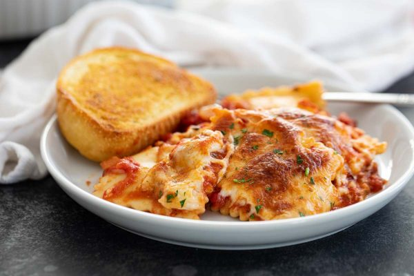 Baked Ravioli with Garlic Bread