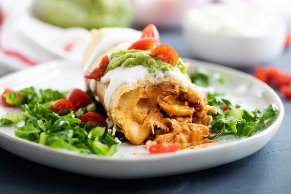 chicken chimichanga cut open