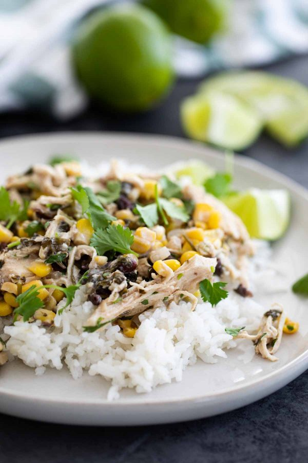 slow cooker cilantro lime chicken with beans and corn