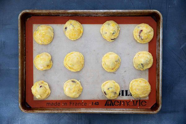 Cranberry Orange Cookies on a cookie sheet