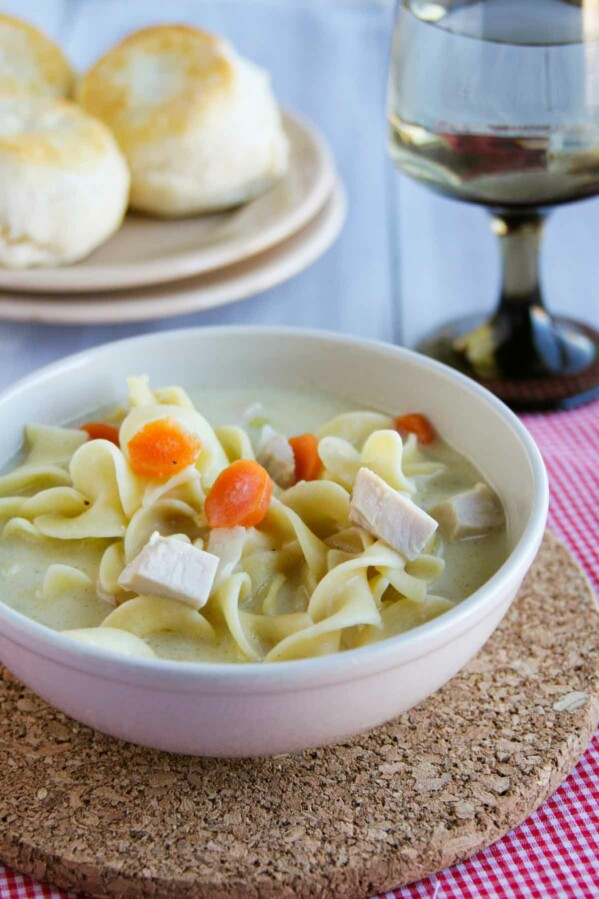bowl of turkey noodle soup