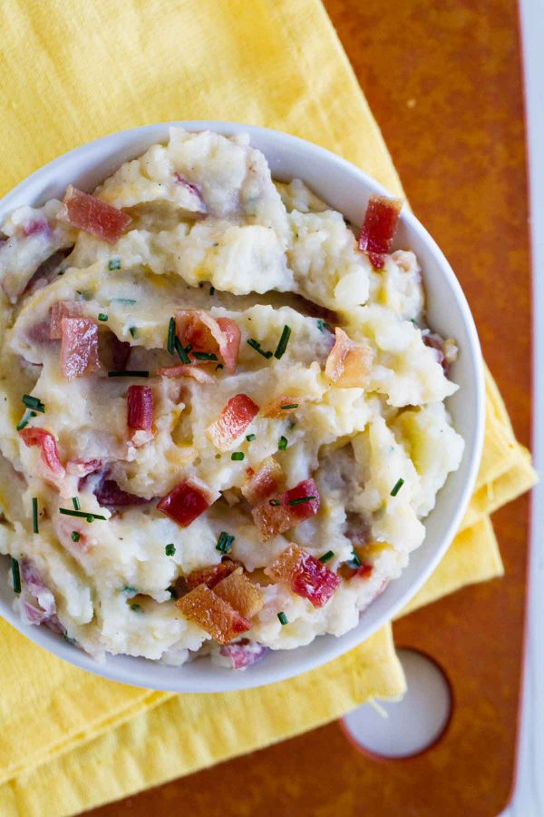 bowl of loaded mashed potatoes