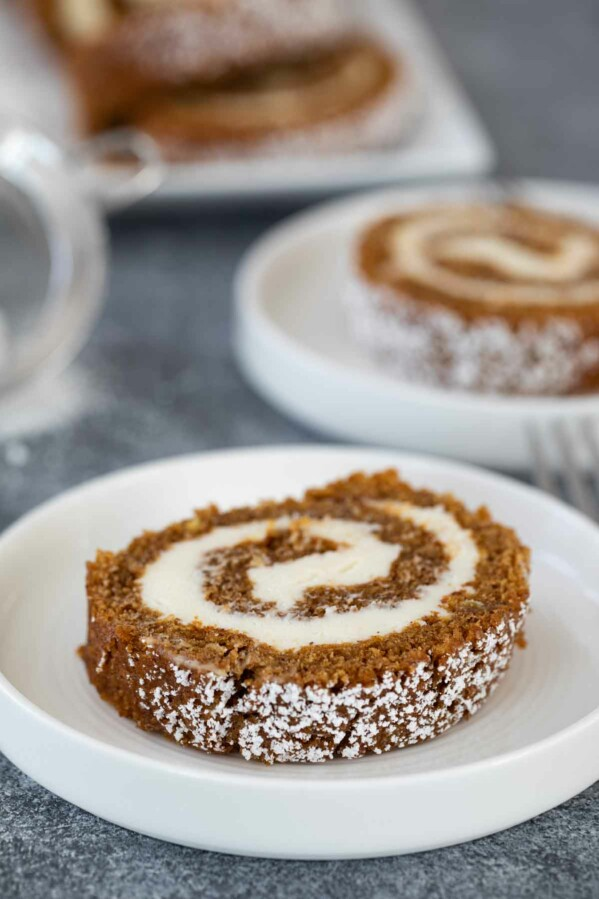 Pumpkin Roll with Cream Cheese Filling on a plate