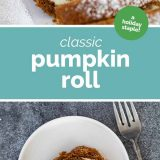 Classic Pumpkin Roll with text in the middle