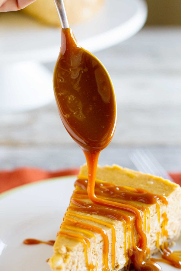 homemade caramel sauce on cheesecake