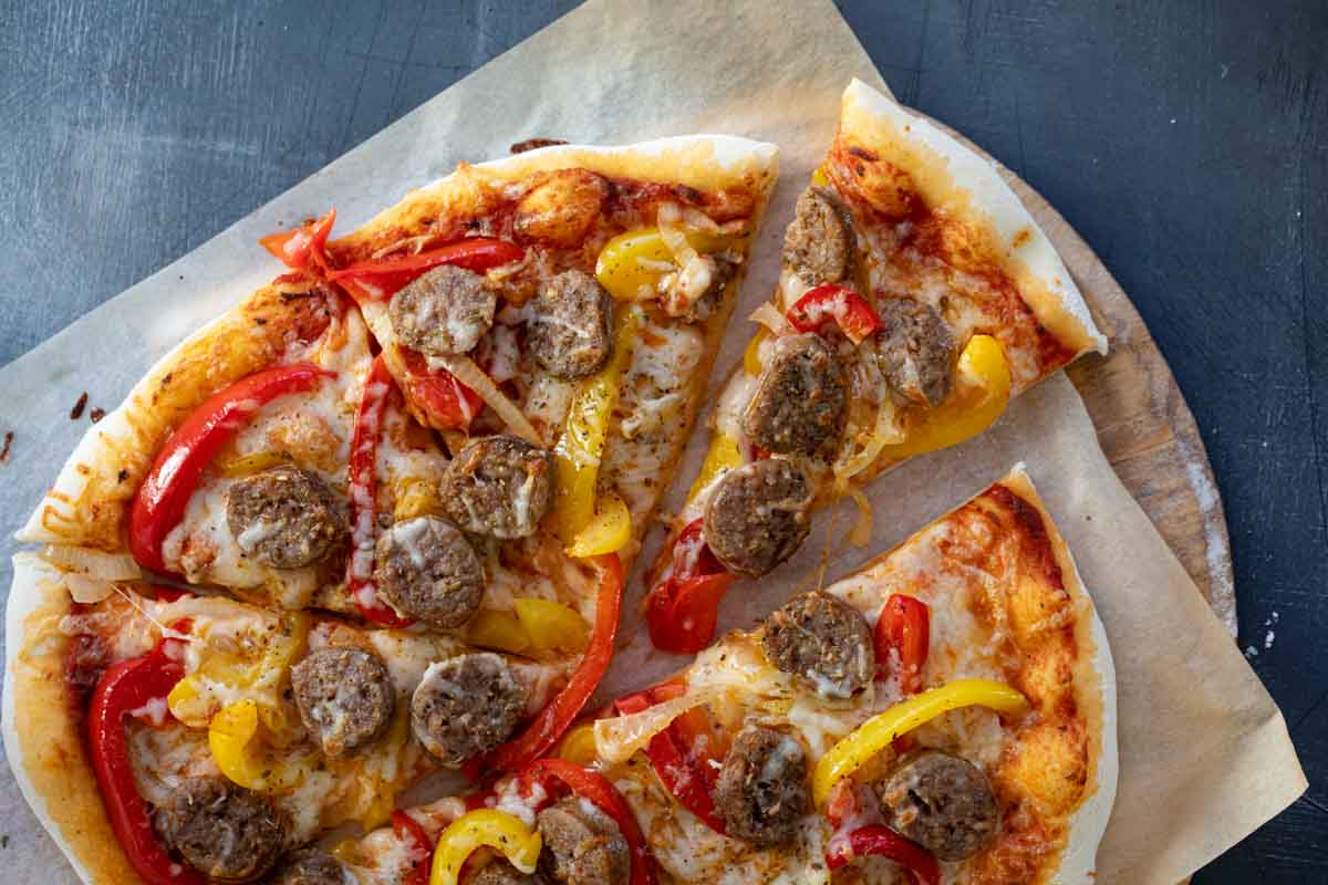 Homemade Sausage and Peppers Pizza