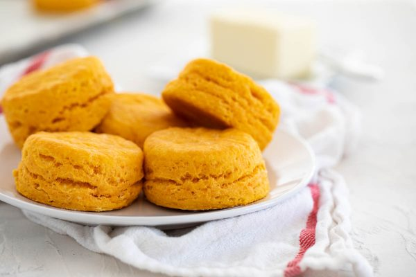 plate full of sweet potato biscuits