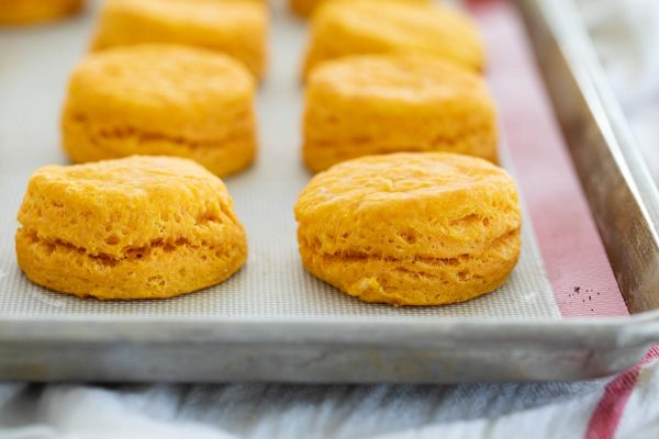 sweet potato biscuits on a baking sheet