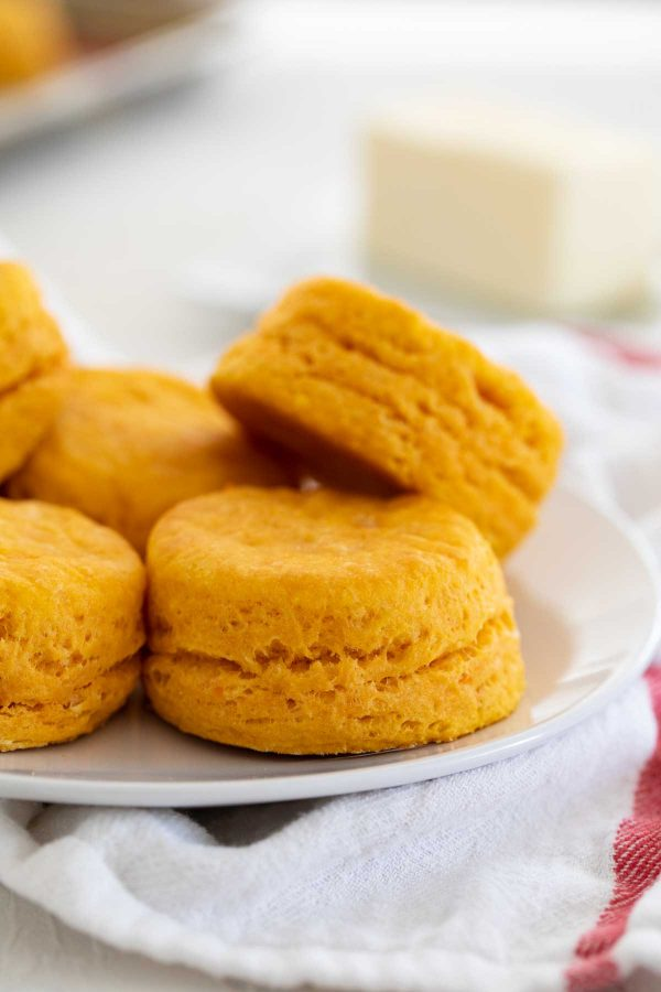 close up of sweet potato biscuits