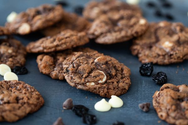 Triple Chocolate Cookies with Dried Cherries