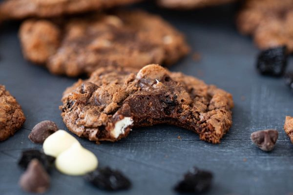 fudgy cookies with chocolate chips and dried cherries