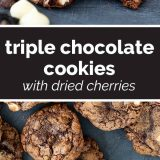 how to make Triple Chocolate Cookies with Dried Cherries