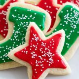 soft sugar cookies with red and greed sugar cookie icing