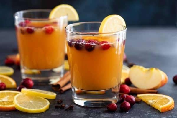 Hot Apple Cider in Glasses