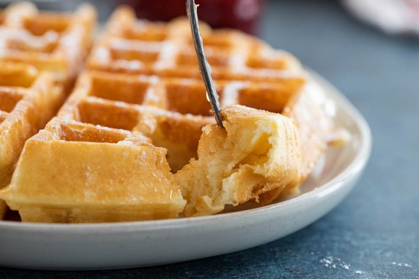 Texture of fluffy waffles