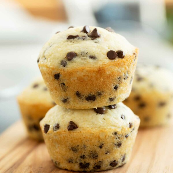 stacked chocolate chip muffins
