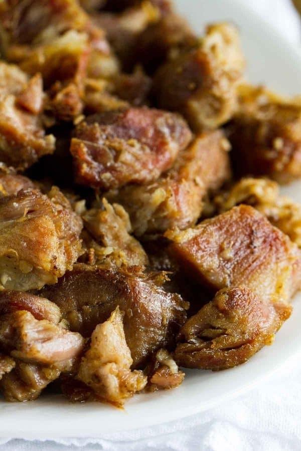 close up of pork carnitas