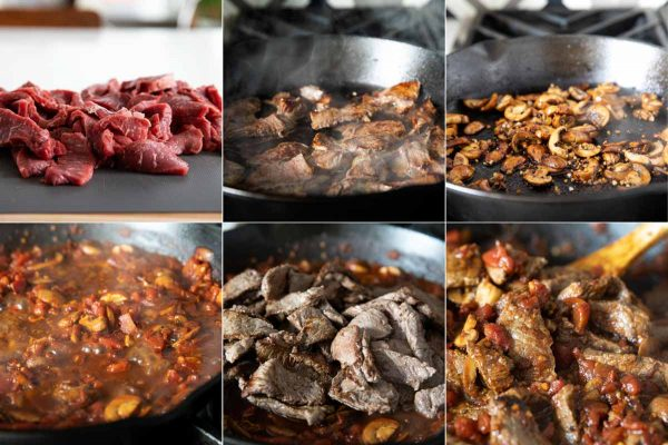Steps to make ragu with steak and mushrooms
