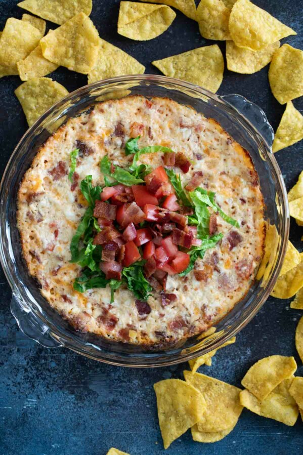 BLT Dip topped with lettuce and tomatoes