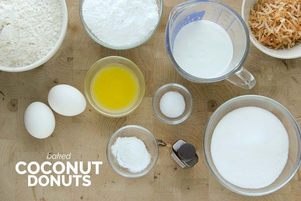 ingredients for Baked Coconut Donuts