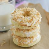 stack of Baked Coconut Donuts