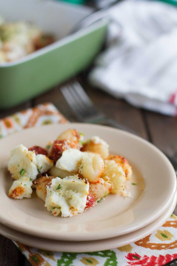 Serving of Baked Gnocchi with Ricotta