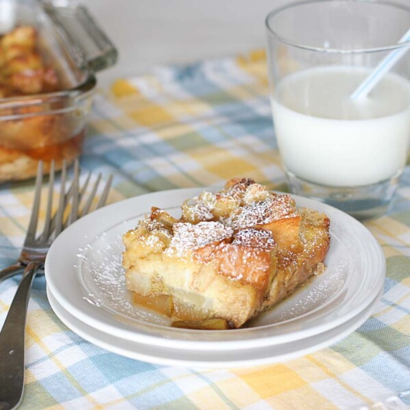 slice of Baked Pear Vanilla French Toast on a plate